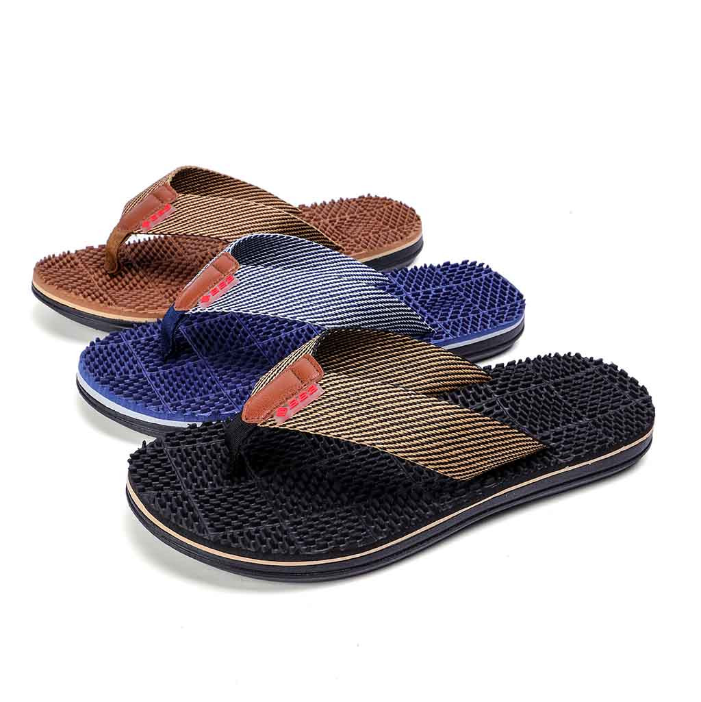 0236bfe5d668 Men `s Fashion Casual Flat Flip Flops Slippers Beach Shoes Outdoor Massage  Shoes