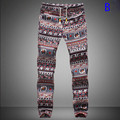 New Fashion Men's joggers pants Print Harem Pants Long Style Floral Print Cotton Linen elastic waist Pants trousers men 19