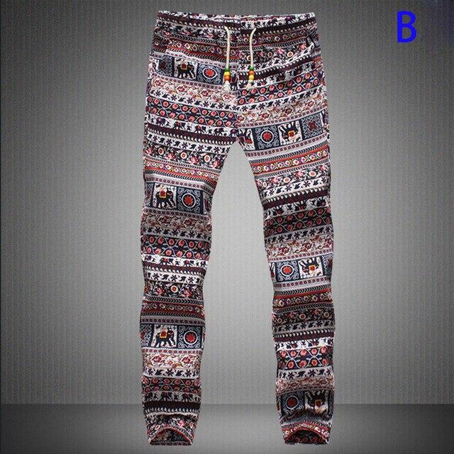 New Fashion Men's joggers pants Print Harem Pants Long Style Floral Print Cotton Linen elastic waist Pants trousers men 19