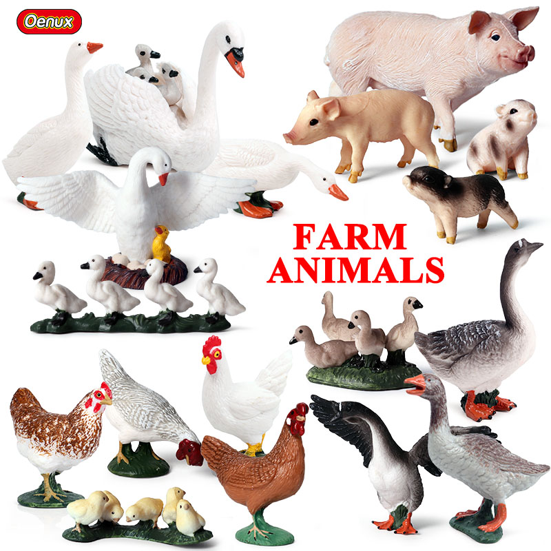 Oenux Original Farm Animals PVC Model Action Figures Simulation Pig Duck Hen Goose Horse Animal Model Set Toys For Kids Gift