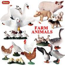 Oenux Original Farm Animals PVC Model Action Figures Simulation Pig Duck Hen Goose Horse Animal Mode