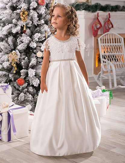 Ivory New A Line Girls Dresses Beaded Lace Satin Floor Length Flower Girl Dress Girl Dress Girls Communion Gown Custom Any Size все цены
