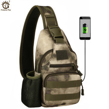 USB Charging Chest Bag Outdoor Military Camouflage Shoulder Bag Tactical Army Assault Pack Mochila Camping Sports Bag outdoor military tactical shoulder bag with usb charging chest bag wear resistant travel camping backpack cycling