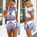 2017 new fashion women summer suits two peice novelty o-neck beach style cool weather casual print shorts drop shipping
