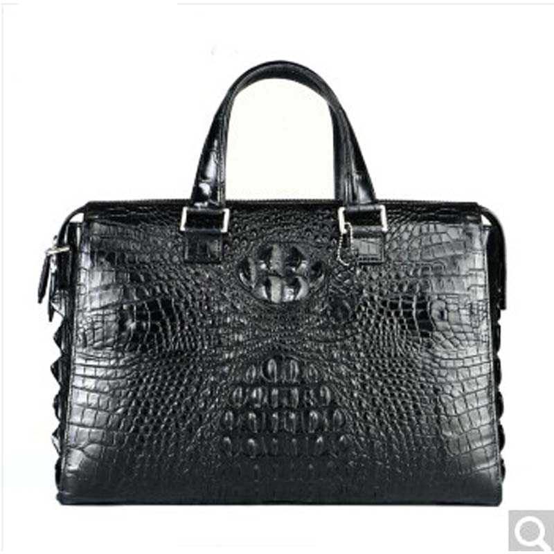 DSLR Crocodile leather men briefcase men's crocodile leather handbag single shoulder messenger bag business men's 2018 New Black