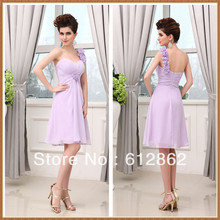 One Shoulder Pleated Chiffon Sweetheart Short Bridesmaids Dress