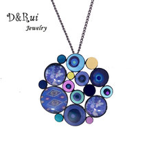 Round Pendant Necklace for Women and Girls Party Enamel Geometric Jewelry Fashion Long Sweater Chain Accessories