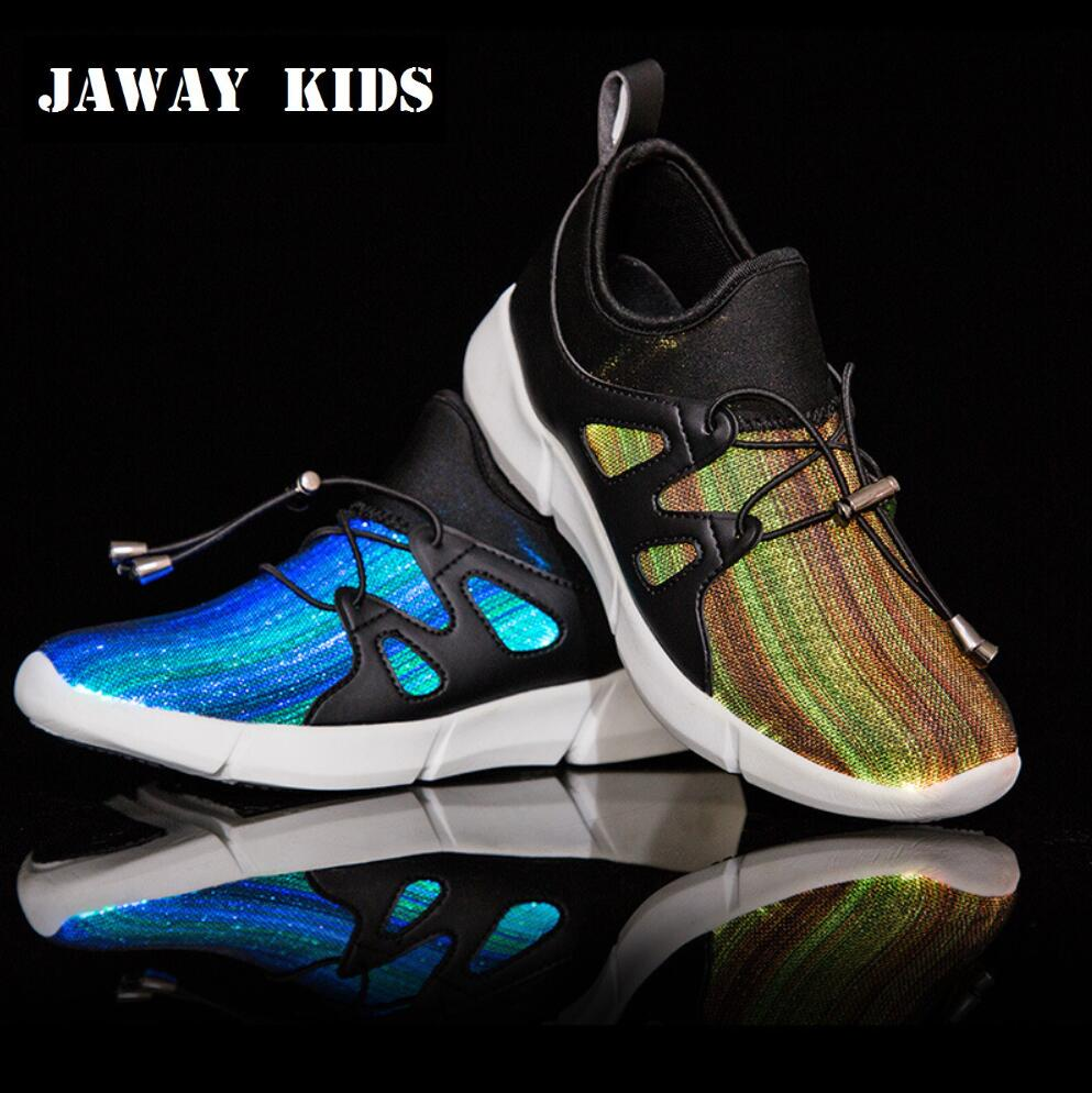 JawayKids 25-41 New Fiber Optic Shoes For Childrenmen And Women Glowing Sneakers Kids Led Shoes USB Chargeable Light Up Shoes