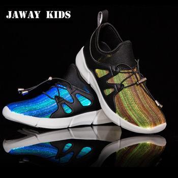 JawayKids 25-41 nowe włókno światłowodowe buty dla dzieci mężczyzn i kobiet świecące tenisówki dziecięce buty Led USB wymagalne zapalają buty tanie i dobre opinie 3-6y 7-12y 12 + y CN (pochodzenie) CZTERY PORY ROKU Unisex Dobrze pasuje do rozmiaru wybierz swój normalny rozmiar SYNTETYCZNE