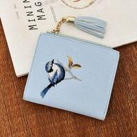 2017 Mulher Carteira Bordado Pássaro Bolsa de Franja Curta Pu Animal Prints Zipper Mini Carteiras Sólidos Nova Versão