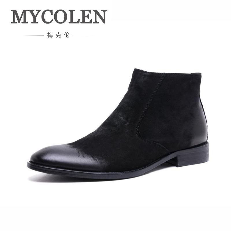 MYCOLEN Brand 2018 Quality Genuine Leather Winter Boots Men Warm Shoes Men Casual Handmade Pointed Toe Zip Male Leather Shoes mycolen brand genuine leather men shoes handmade autumn winter brand high quality men flats shoes comfortable wear shoes