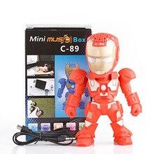Bluetooth Speaker Iron Man with LED Flash Light Deformed Arm Figure Robot Portable