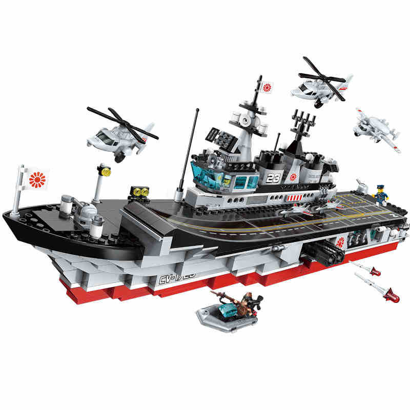 642pcs Children s educational building blocks toy Compatible city Boy military series aircraft and carrier model