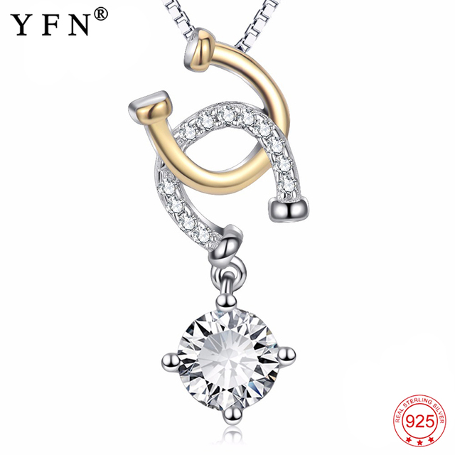 15082547e9 Real 925 Sterling Silver Horse Hoof Necklace Cubic Zirconia Horseshoe  Pendants Necklaces Fashion Jewelry Christmas Gifts