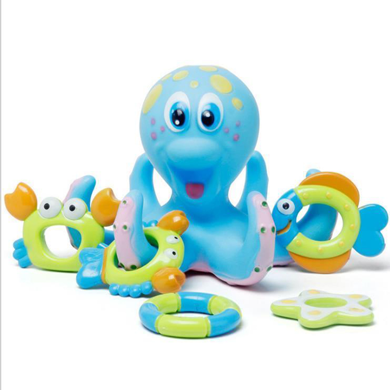 Octopus Floating Baby Bath Toy Shower Fun Water Swimming Sea Animal Fish Crab Starfish Toys