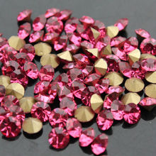 1440pcs/bag rose pointed back Glass Chatons Crystal rhinestones Many size Round Fancy Crystal Pointback For Jewelry Accessory(China)