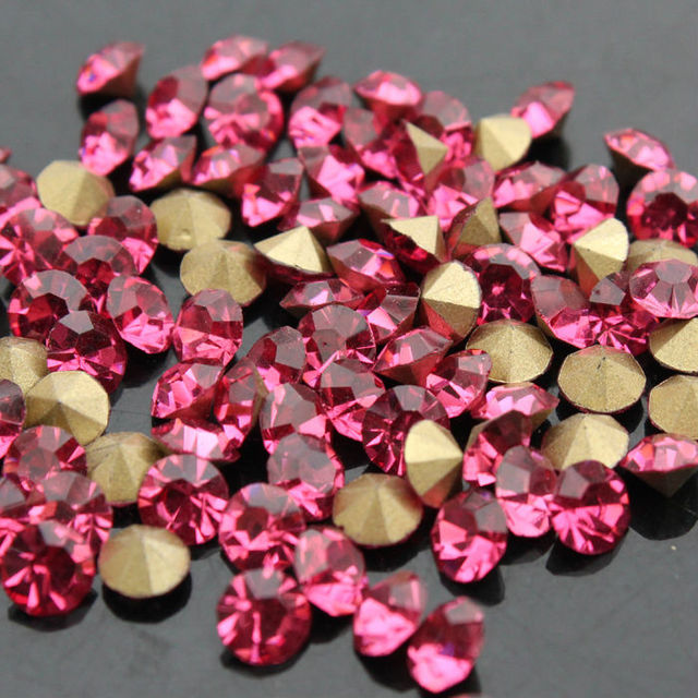 1440pcs bag rose pointed back Glass Chatons Crystal rhinestones Many size  Round Fancy Crystal Pointback For Jewelry Accessory 506eac30defb