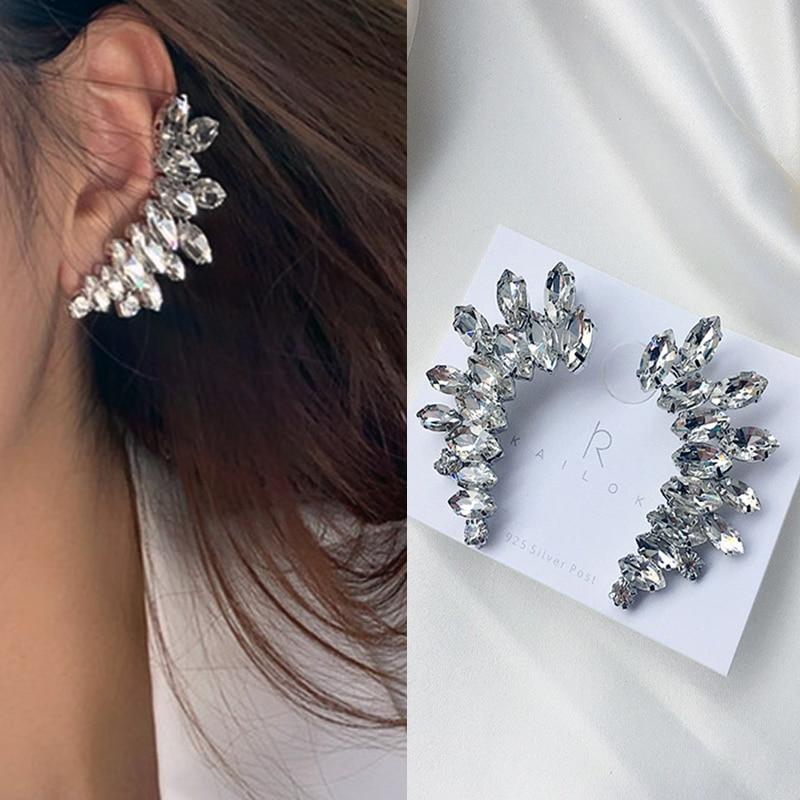 Luxury Silver color Wings Stud Earrings For Women shiny crystal Rhinestones earings fashion jewelry Ear Cuff Cute Gift Brincos in Stud Earrings from Jewelry Accessories