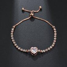1 PC heart shaped zircon bracelet European and American popular crystal telescopic ladies jewelry