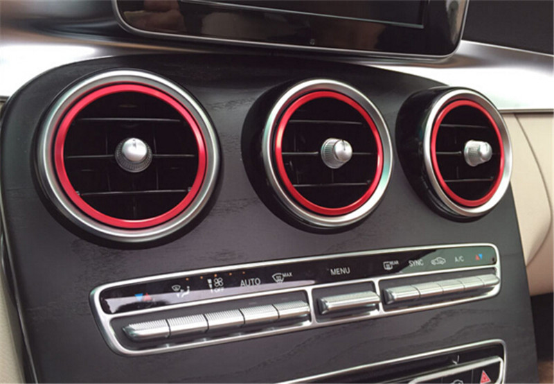 7pcs Red Interior A/C Air Vent Outlet Ring Cover Trim for <font><b>Mercedes</b></font> Benz C Class 2015 W205 C180 C200 C250 <font><b>C300</b></font> C400 & GLC <font><b>2016</b></font> image
