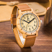 Bamboo Wood Watches Male Genuine Leather Watchband Clock Relogio Masculino Mens Wood Watch Unique Watches For