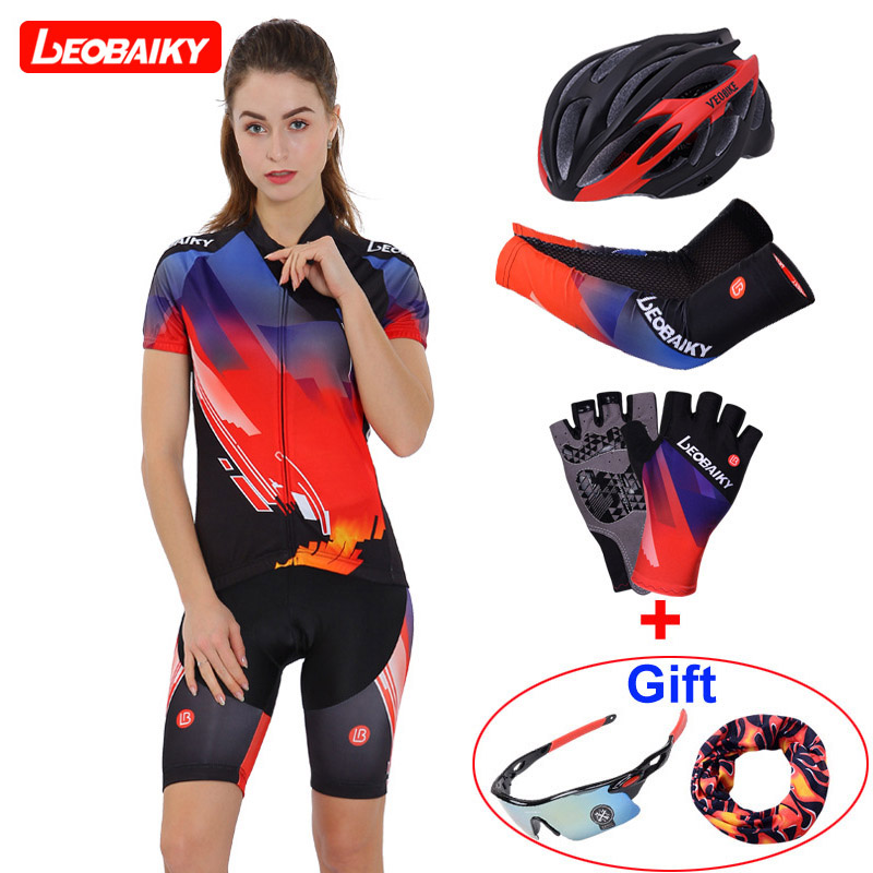 LEOBAIKY 2018 Pro Team Custom Cycling Sets Women Summer Breathable Cycling Clothing Short Sleeve Jersey Sets Gel Padded Shorts leobaiky 2018 pro long sleeve cycling jersey sets breathable 3d padded sportswear mountain bicycle bike apparel cycling clothing