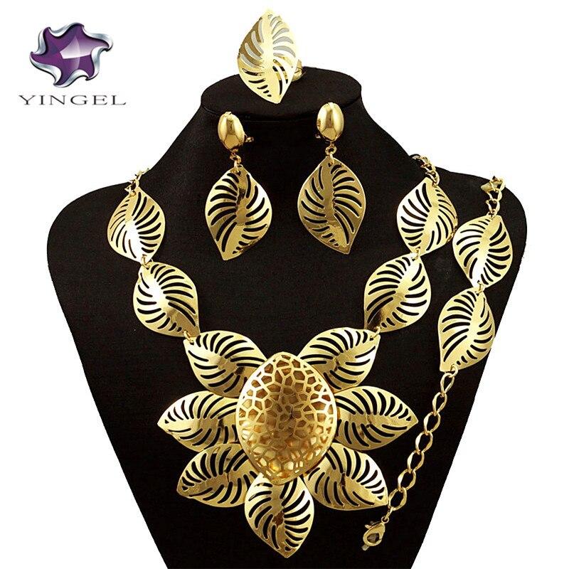 Ювелирные изделия золотые украшения комплекты Оптовая Африканской большой дизайн для свадьбы и вечеринки ожерелье Fine Jewelry комплекты