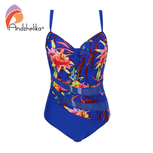 Image 3 - Andzhelika ビキニプラスサイズの水着女性ワンピース水着セクシーなメッシュ花パッチワークボディスーツ夏水着モノキニ
