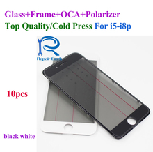цены 10pcs Top Quality 4 in 1 Front Glass Lens with Bezel Frame OCA Polarizer Film For iPhone 8 7 6 6s plus 5 5s 5c Cold Press