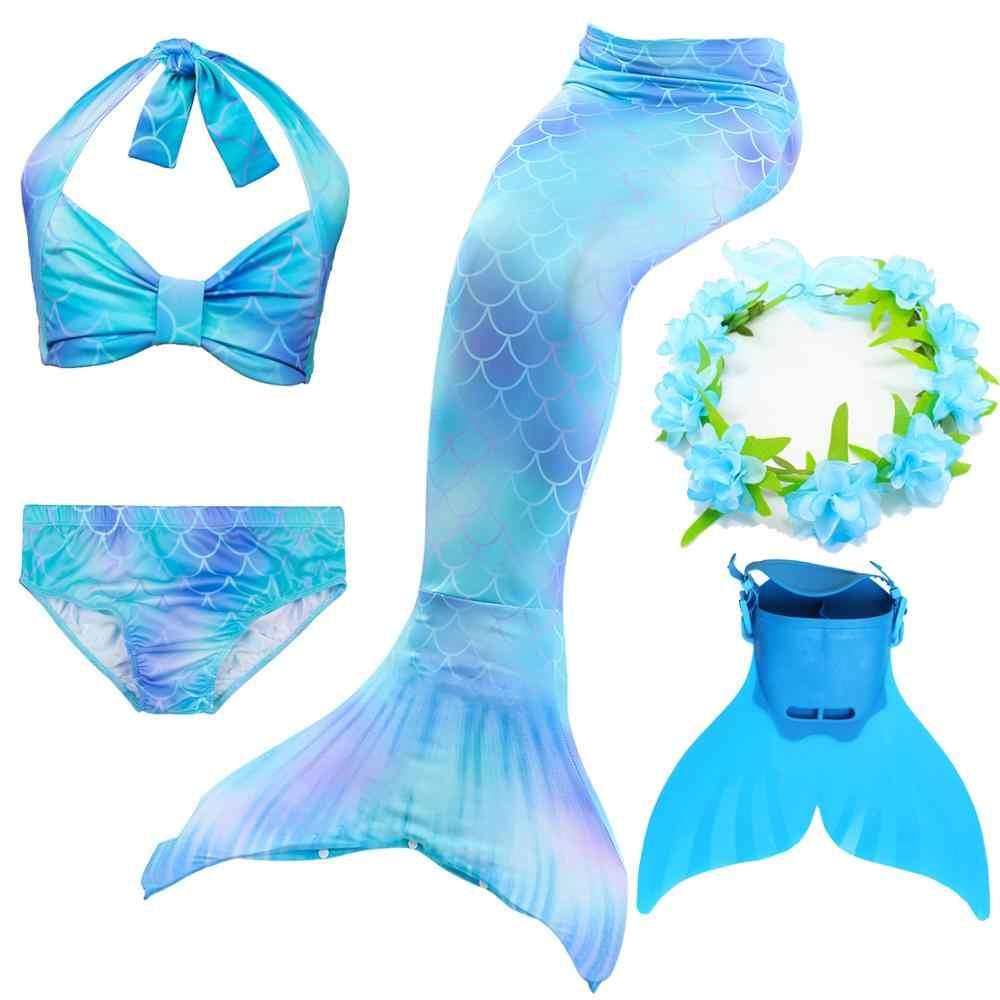 Meninas pequena cauda sereia trajes de natação monofin crianças biquíni maiô conjunto para natação cosplay