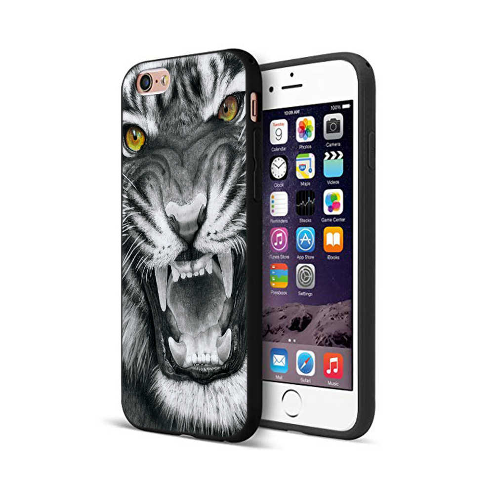 أسود tpu حالة ل iphone 5 5s se 6 6s 7 8 زائد x 10 حالة سيليكون غطاء ل فون XR XS 11 برو ماكس حالة النمر النمر الأسد