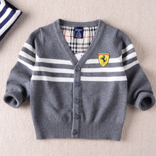 2016 Famous spring and autumn 100% boy sweater / European and American fashion V-neck cardigan sweater jacket children / gift