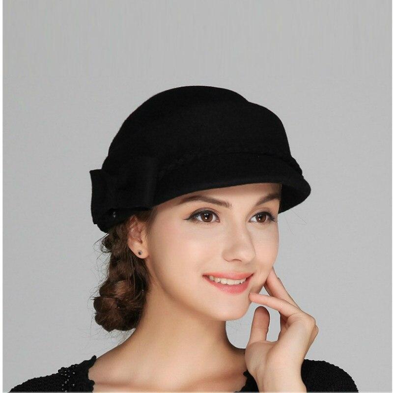 Nouvelle Arrivée Femme Automne Hiver Chapeau Dame De Mode De Laine Chapeau de Feutre Filles Élégant chapeau De Béret De Mode Britannique Loisirs Cap B-7582