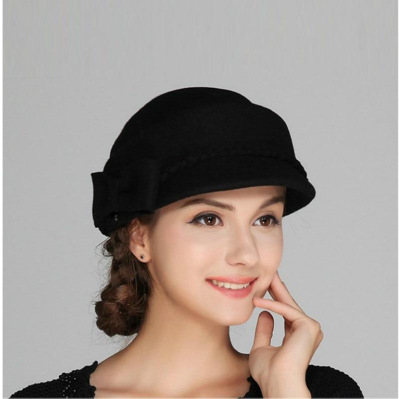 8540a20458f6f Nueva llegada mujer Otoño Invierno moda señora sombrero de fieltro de lana  niñas elegante boina moda británica ocio B-7582