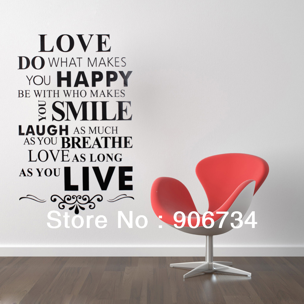 Smile Laugh Love Quotes Love Happy Smile Live Quote Removable Vinyl Decal Wall Sticker