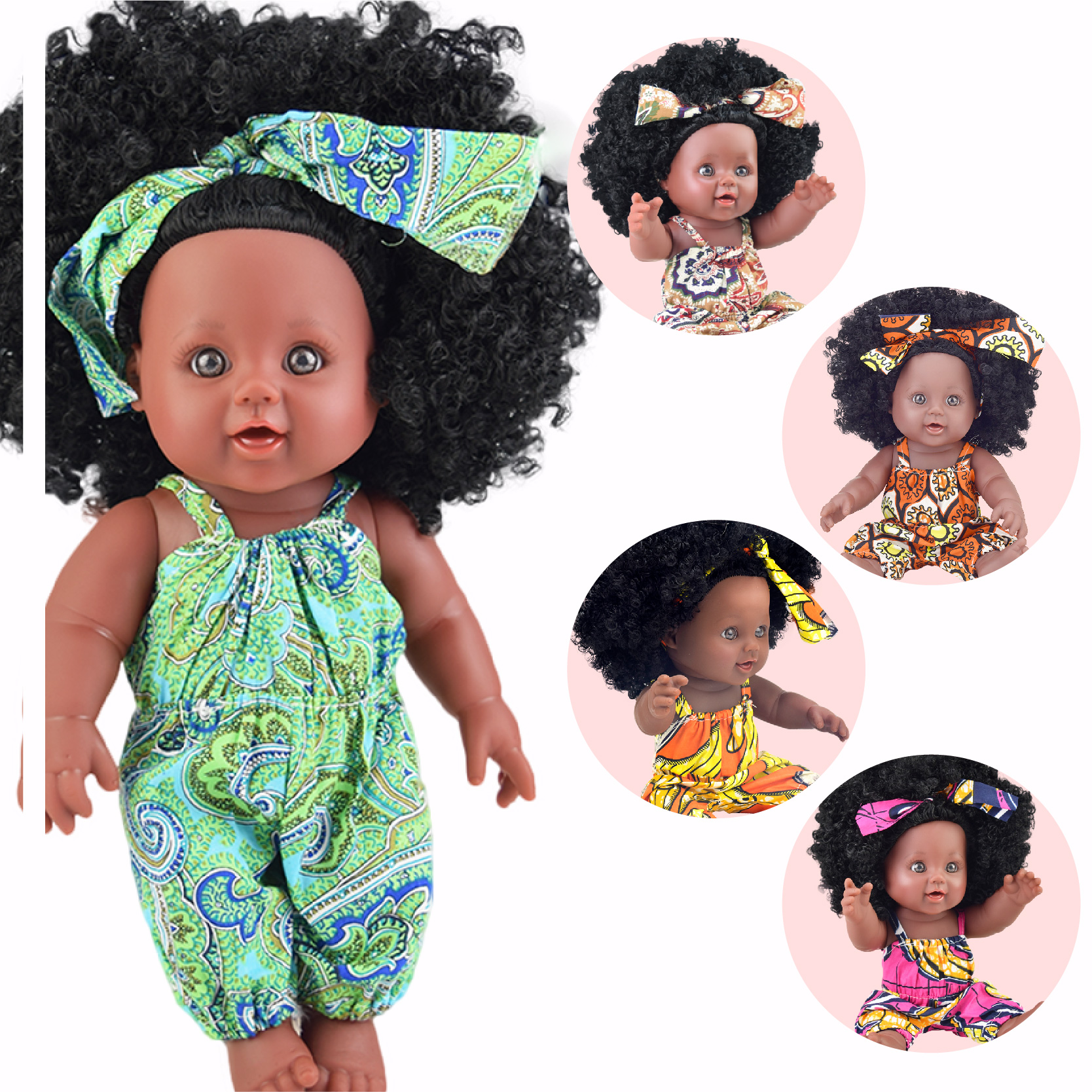 Black  Baby Dolls Pop Green African! 12inch  Lol Reborn Silicone Vinyl 30cm Newborn Poupee Boneca Baby Soft Toy Girl Kid Todder