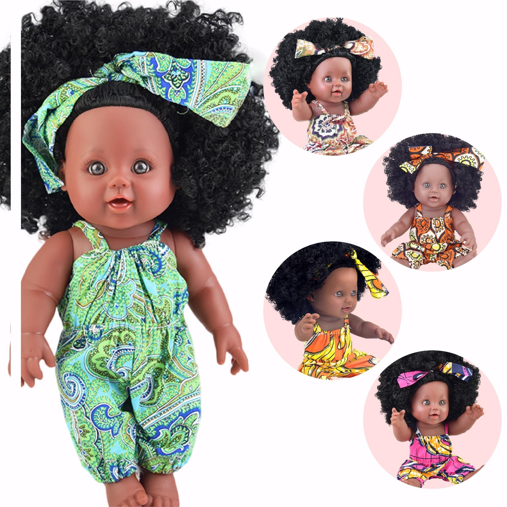 Bonecas de bebê preto pop verde africano! 12 polegada lol silicone reborn vinil 30cm recém-nascido pupee boneca bebê brinquedo macio menina criança todder