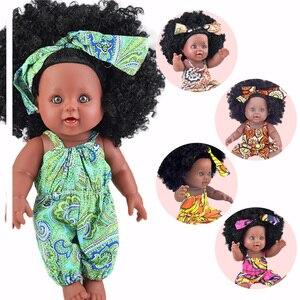 black baby dolls pop green African! 12inch reborn silicone vinyl 30cm newborn poupee boneca baby soft toy girl kid todder(China)