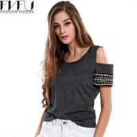Fashion 2017 T Shirt Women Summer Style Solid Color Gray T Shirt Off Shoulder Tops Short