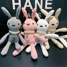 цена Cute rabbit Key chain For Children's Toy Animal Doll Cartoon Unicorn Fur Toy Rabbit Keychains For Women's Birthday Christmas Gif онлайн в 2017 году