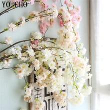YO CHO Silk Hydrangea Japanese Sakura Branch Fake Decorative Flowers For Wedding Home DIY Orchid Artificial Cherry Blossom Tree