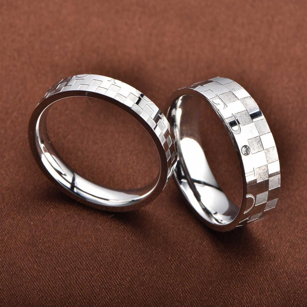 SOITIS 316L Paslanmaz Çelik Çift Yüzük Erkekler Kadınlar Alyans paslanmaz çelik takı Aşk Yüzük Nişan Partisi için