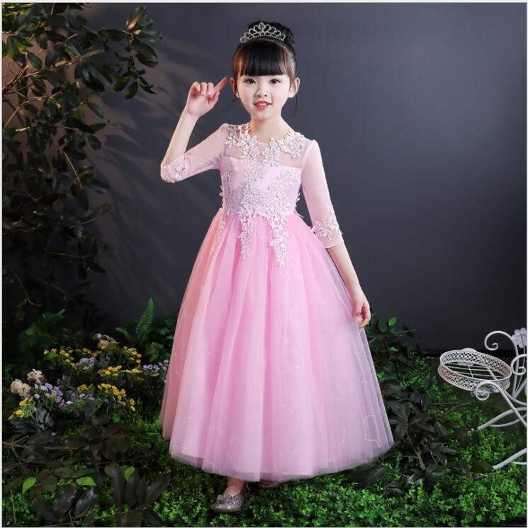 Girl Princess Dress Kids Girls Clothes Lace Half Sleeve Children Wedding Party Dress Birthday Gifts Occasion 2018 New Summer стоимость