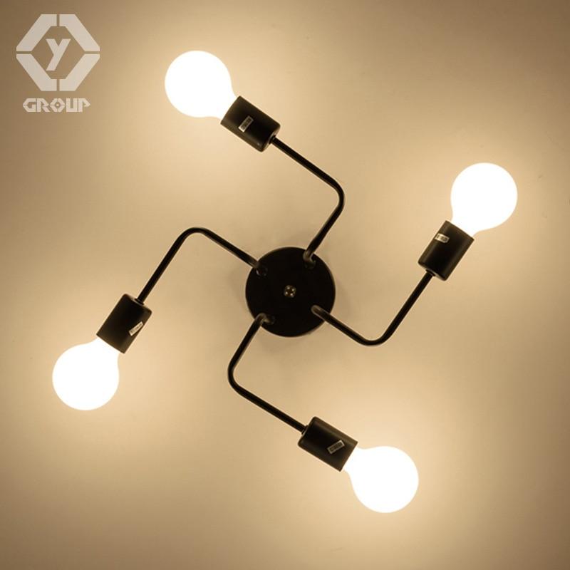 OYGROUP Vintage Smeedijzeren 4 Heads Meerdere Staaf Plafondlamp - Binnenverlichting - Foto 2
