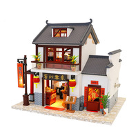 Miniature Chinese Style Inn Hotel Model Wooden Dollhouse Puzzle Furniture Kits DIY Dolls House Lights Christmas Birthday Gift