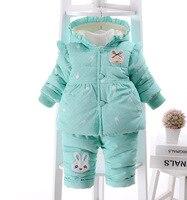 2016 Kid Baby Girls Christmas Snowsuit Parkas Clothing Set Winter Coat Children Bear Hooded Thicken Infant