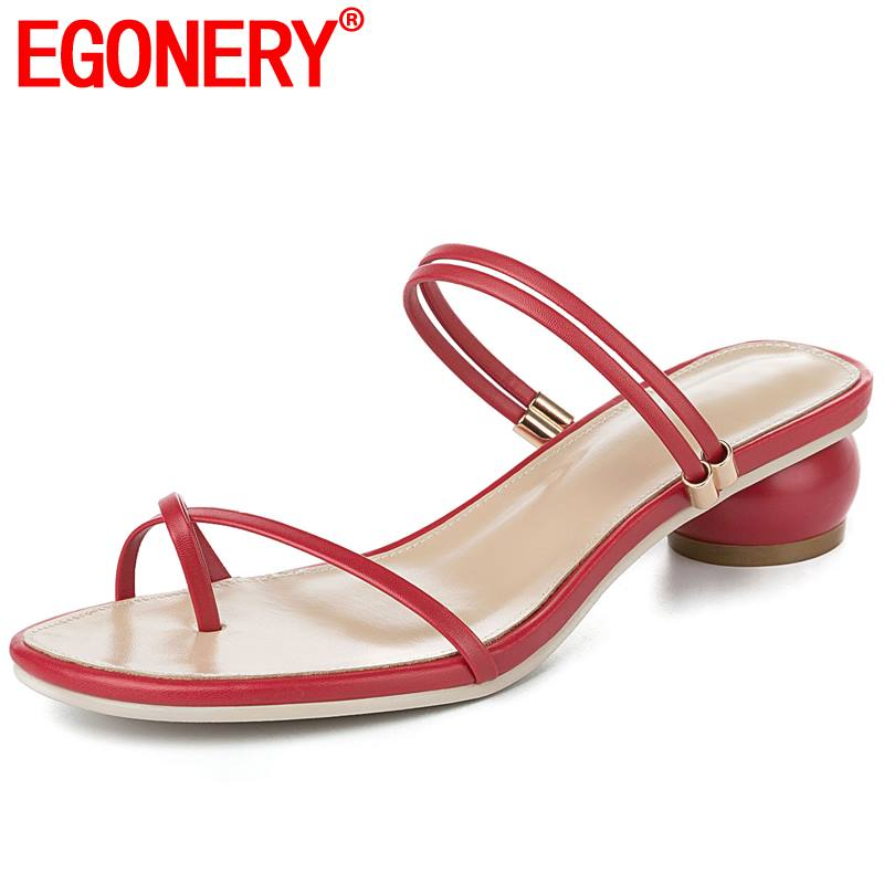 EGONERY woman sandals fahion sheepskin leather insole 33 42 plus size green red black apricot 3