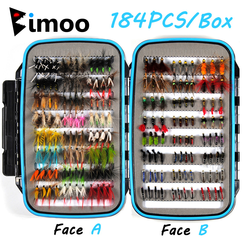 Bimoo 184pcs Wet Dry Nymph Fishing Fly Box Set Fly Tying Material Bait Fake Flies for