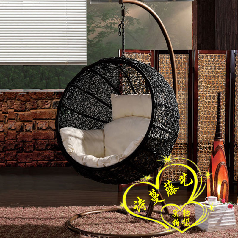 Delightful Rattan Swing Hammock Lounged Hanging Basket Cradle Chair Balcony Bird Nest  Hanging Chair Round Indoor Cradle