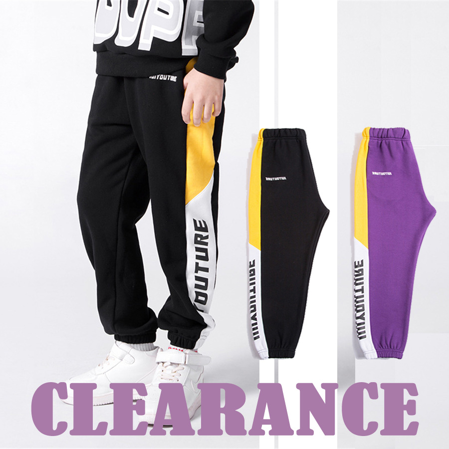 Clearance sale cheap price long joggers boys pants letter printed ankle banded pants spring summer sport pants boys streetwear